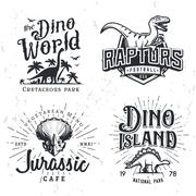 Dinosaur Vector Logo Set. Triceratops t-shirt illustration concept. Raptors Stock Illustration