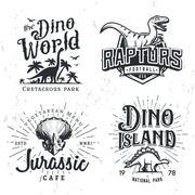 Dinosaur Vector Logo Set. Triceratops t-shirt illustration concept. Raptors - stock illustration