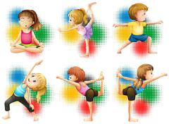 Children doing yoga and stretching Stock Illustration