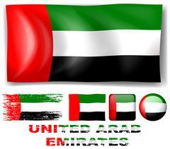 United Arab Emirates flag in different designs Stock Illustration