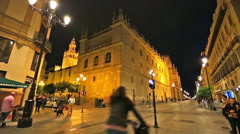 Seville city street by night Stock Footage