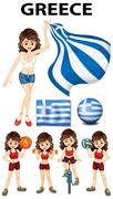 Greece flag and woman athlete Piirros
