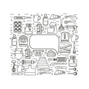 Template design kitchenware - stock illustration