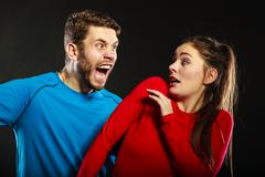 Man husband abusing woman wife. Violence. - stock photo