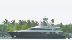 Luxury yacht in Miami Stock Footage