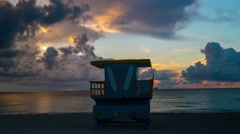 Timelapse shot in 4K of Sobe South Beach sunrise lifeguard station in Miami Beac Stock Footage
