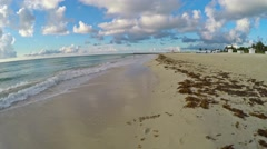 4K motion video of Stroll on Sobe South Beach sunrise in Miami Beach, Florida Stock Footage