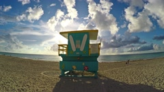 4K motion video of Lifeguard Station on Sobe South Beach sunrise in Miami Beach, Stock Footage