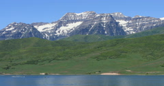 Mount Timpanogos Deer Creek Reservoir boats summer Utah DCI 4K Stock Footage