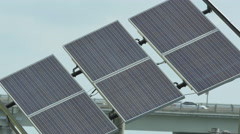 Adjustable angle solar panel Stock Footage