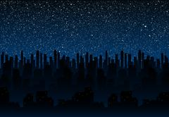 Starry night sky. Silhouette of the city. Eps 10. Stock Illustration