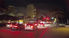 Stock footage Fort Lauderdale Beach strip at night Stock Footage