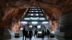 Time Lapse - Escalators in the Stockholm Subway -  Stockholm Sweden - stock footage