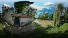360Vr Video Abandoned Building on a River Bank Sunny Summer Day in Park Willow Stock Footage