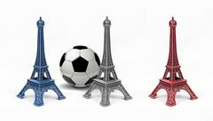 Three multicolored Eiffel Tower models, isolated on white background - stock photo