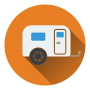 Icon of camping family caravan car - stock illustration