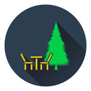 Icon of park seat and pine tree - stock illustration