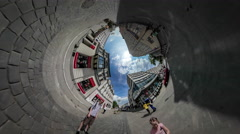 360 Degree Rabbit Hole Planet Dad and Kid City Day Opole Walking by Vintage Stock Footage