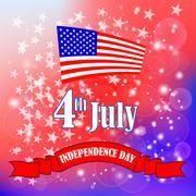 American Flag Starry Background. - stock illustration