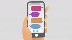 Send bubble Message bar using smart phone. drawing illustration style. Stock Footage