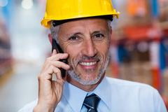 Portrait of man worker in a warehouse Stock Photos