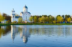 Church of St. Alexander Nevsky in recreation area Ponds, Gomel - stock photo