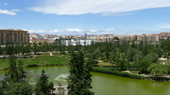 Overview of pond in the Turia garden Stock Footage