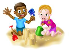 Boy and Girl on The Beach - stock illustration