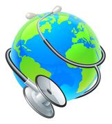 Health Concept Stethoscope Earth World Globe - stock illustration