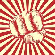 Woodcut Fist Hand - stock illustration