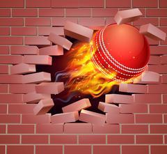 Flaming Cricket Ball Breaking Through Brick Wall Stock Illustration