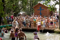 SLAVGOROD, BELARUS - AUGUST 16: The Blue Krynica. mass pilgrimage for healing Stock Photos
