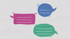 Three Speech bubble text bar, illustration drawing style Stock Footage