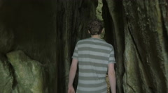 Cave Rocks Walk Into Young Man Walking Nature Exploring Uncharded places Beau Arkistovideo