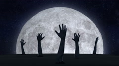 Zombie hands reaching sky with with the moon in background. - stock footage