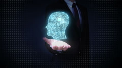 Businessman open palms,Brain head connect digital lines, artificial intelligence Stock Footage