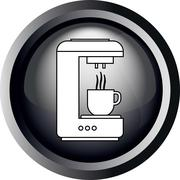 Card with a coffee making machine pouring coffee in a cup, in round frame - stock illustration