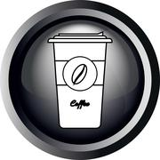 Card with a cup of take away coffee with bean sign, in round frame in 3d - stock illustration