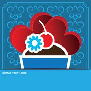 Candy card with a big chocolate cream cake, over blue background - stock illustration