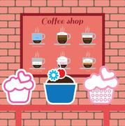 Set of cakes and coffee shop items with americano, latte, cappucino Stock Illustration