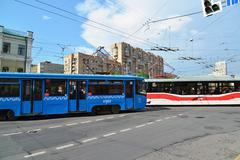 Moscow, Russia - June 03.2016. Tramat a crossroads in front of the subway Kra - stock photo
