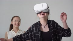 Fun with virtual reality headset - stock footage