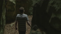 Rocky Walk Between Stone Young Man on Adventure Stunning Nature Rocks Scene I Stock Footage