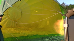 Hot air balloon being inflated - stock footage