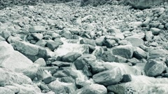 Mounain river flows on rocks, wide angle 4K video Stock Footage