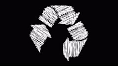 recycling symbol drawn on scribble effect rotating white - stock footage