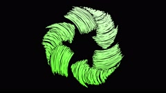 recycling drawn on scribble effect green rotating - stock footage