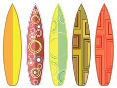 Surfing Boards Set - stock illustration