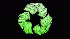 recycle symbol scribbling green rotation loop - stock footage
