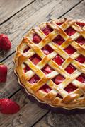 Traditional baked strawberry pie cake sweet pastry food Stock Photos